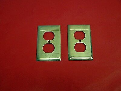 Pair of Vintage Heavy Brass Receptacle Plate Covers