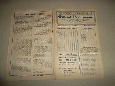 Chelsea v Leicester City 1945/46 Football Programme. League Game 19th January.