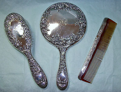 Antique GORHAM 3 Pc Sterling Silver Dresden Rose Repousse 26 DRESSER Vanity SET
