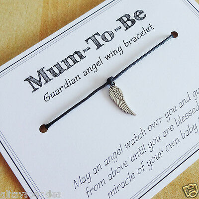 Mum-to-be pregnancy guardian angel wing bracelet - ideal baby shower gift!