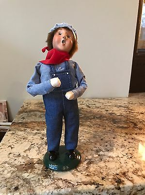 Byers Choice The Carolers - Child With Toy dressed as Train Engineer 2001
