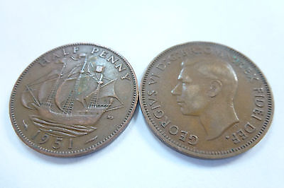 King George VI Half Penny coins - choose your year -1936 to 1952 (free post)
