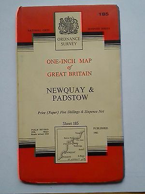 One-Inch 7th Series Ordnance Survey Map Sheet 185 Newquay & Padstow