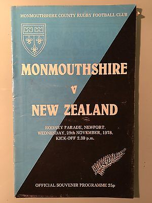 MONMOUTHSHIRE v New Zealand 1978 - Rugby Programme