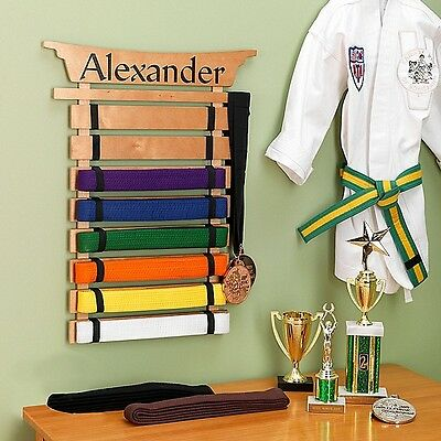 Martial Arts Belt Holder Karate Boys Display Rack Organizer Wall Mount Kung Fu