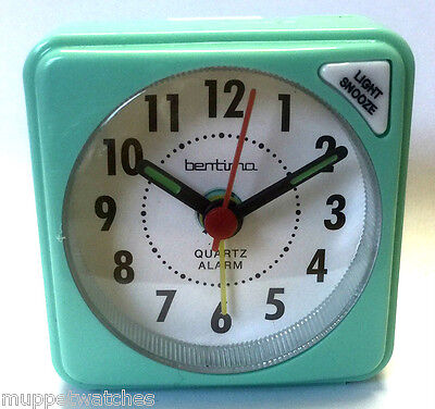 TURQUOISE TRAVEL ALARM CLOCK QUARTZ CLEAR FACE ACCTIM Light Snooze with BATTERY