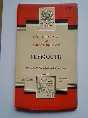 One-Inch 7th Series Ordnance Survey Map Sheet Cloth 187 Plymouth