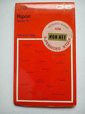 One-Inch 7th Series Ordnance Survey Map Sheet 91 Ripon
