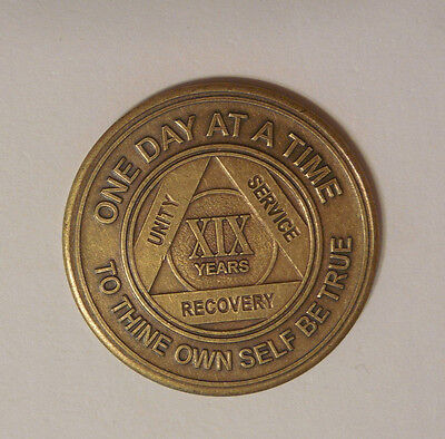 aa bronze alcoholics anonymous 19 year sobriety chip coin token medallion