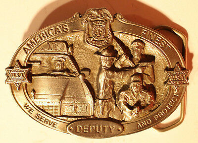 Solid Pewter belt buckle - Police Deputy -America's Finest - Serve and Protect
