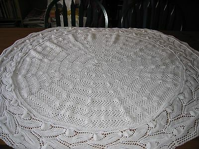 """Brand New Hand Knitted Lacey Circular Christening Baby Shawl In White - 51"""" App"""
