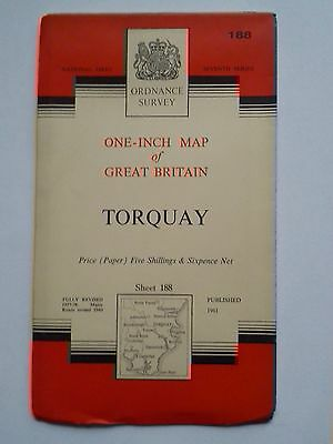One-Inch 7th Series Ordnance Survey Map Sheet 188 Torquay