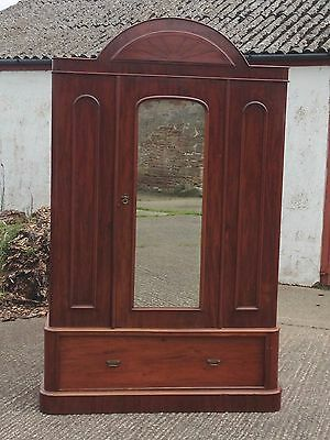 Edwardian mahogany double wardrobe with mirror and drawer