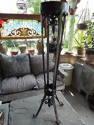 Vintage Ornate Hammered Iron Plant Stand, Riveted, Victorian, Hand-Made