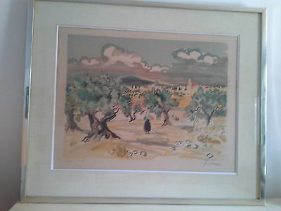 """Yves Brayer Lithographie Originale Signee """"champs D'oliviers En Provence"""""""