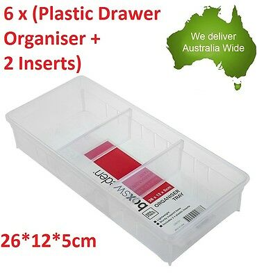 6x Plastic Drawer Organiser + 2 Inserts Storage Office Box Tray Organizer office