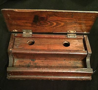 Vintage Oak Double Ink Well And Pen Tidy
