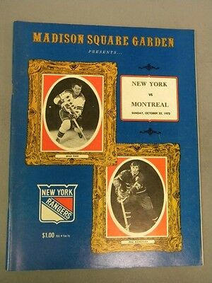 1972 New York Rangers vs. Montreal Canadiens Hockey Program