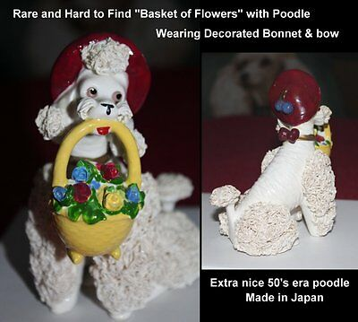 "Spaghetti Poodle Relpo  ""Flower Basket"" Bonnet & Matching Bow,50's Collectible"