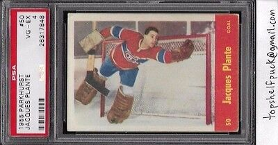 1955 Parkhurst Hockey #50 - Jacques Plante Rookie RC. Graded PSA 4 - VG-EX.