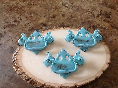 345 Vintage French Provincial-Chippendale Turquoise  Handles 3 Available