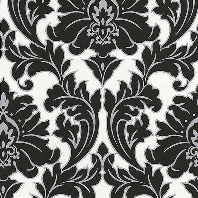 Superfresco Easy Paste the Wall Majestic Damask Black / White Wallpaper 30-433