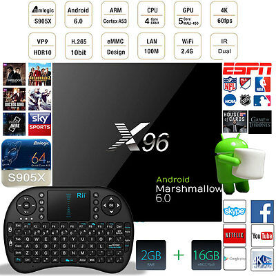 16.1 X96 4K 64bit Android 6.0 Smart Tv Box Fully Loaded  2G+16G + Keyboard