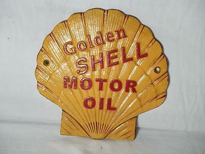 Cast Iron Golden Shell Motor Oil Wall Sign Plaque Clam Shaped Raised Letters