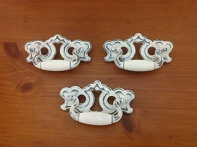 034 VTG French Provincial-Chippendale Handles 3 Available Ivory Wash