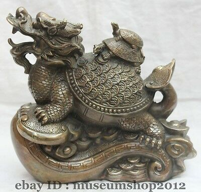 "8"" Chinese Fengshui Copper longevity Wealth Ruyi Dragon Turtle Tortoise Statue"