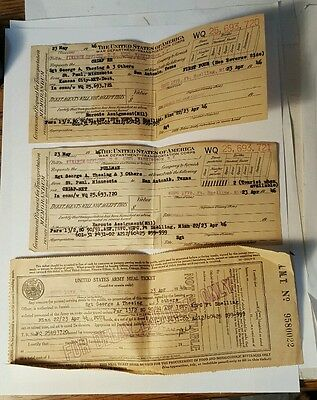 April 1946 UNITED STATES ARMY MEAL TICKET and Pullman train tickets