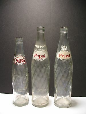 Lot of 3 Vintage Pepsi-Cola Swirl Bottles 16 oz. 10oz.
