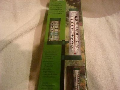 "Garden Treasures 48"" Long Rain Gauge Thermometer- Cracked bottom cap"