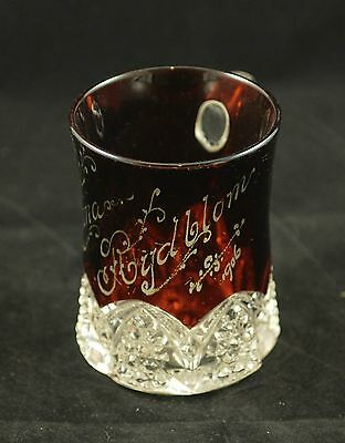 Etched Name Larger Ruby Glass Cup 1906