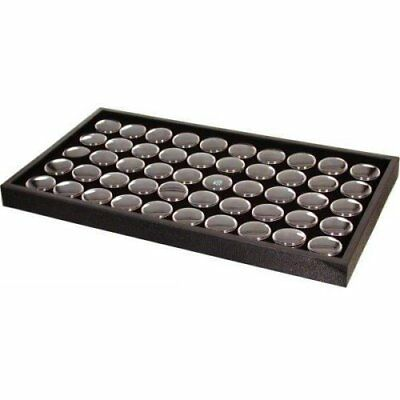 50 Black Gem & Coin Jars Stackable Display Travel Tray New