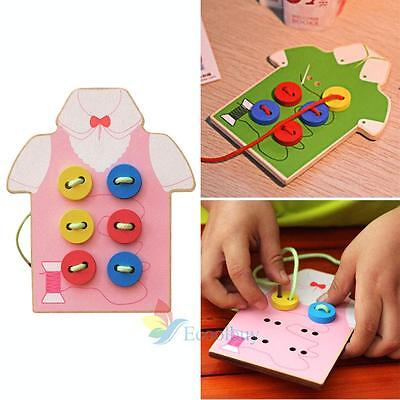 Kid Child Threading Button Beads Lacing Board Montessori Educational Wooden Toy#