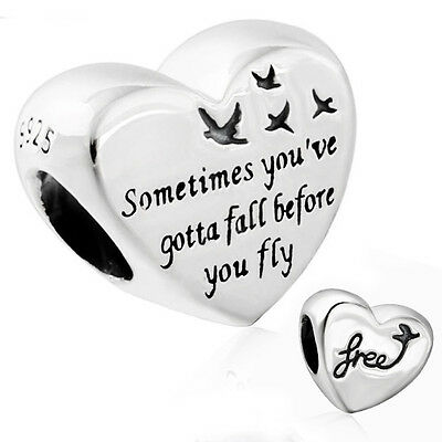 FREEDOM Charm 925 Solid Sterling Silver Heart Words Message Bead for Bracelet