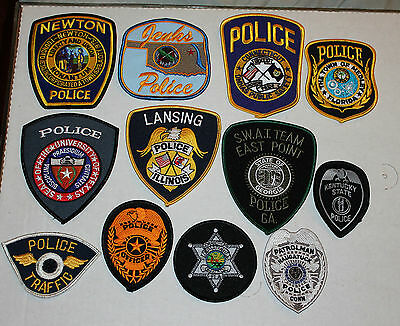 12 assorted POLICE Patches PD lot #K