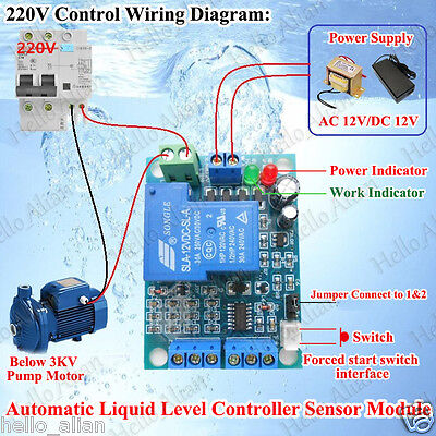 30A Automatic Liquid/Water Level Controller Sensor Module Switch AC12V DC 12V