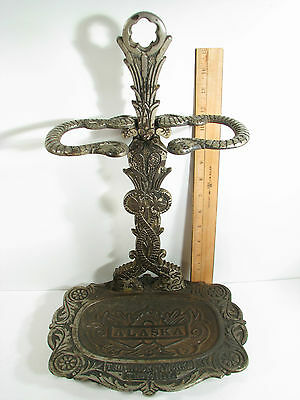 Antique Alaska Troy Nickel Works NY Cast Iron Stove Handle Fireplace Tool Stand
