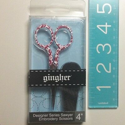 """Gingher Designer collectable Scissors 4"""" Embroidery red white Sawyer 2016"""