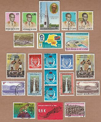 Africa 1972-75 Congo DR (Zaire) 22 stamps collection.