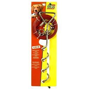 RIGA piquet d'attache + cable  CHIENS