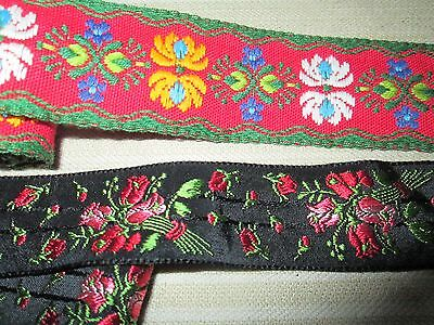 Old lot off 2 vintage/antique trim from silk & cotton woven flowers/France