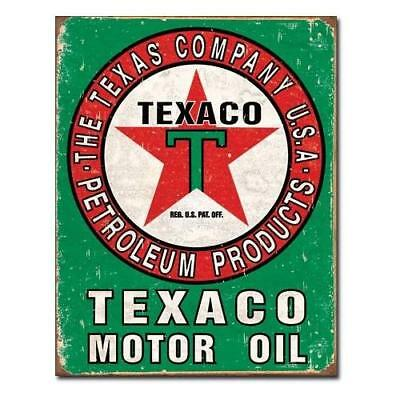 Texaco Oil Weathered Tin Sign 13 x 16in New