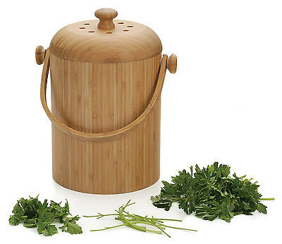 RSVP 3.25 Qt Kitchen Counter Top Compost Pail/Keeper/Bucket Bamboo Scrap New