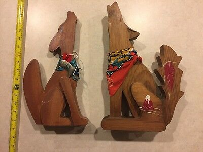 Coyote Howling Hand Painted Wood Figures, Native/Southwestern Art Set of 2