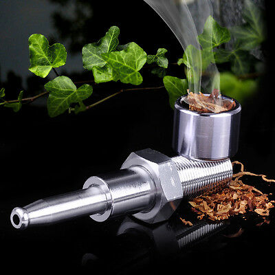 Pocket Screw Metal Smoking Pipe Silver Tobacco Cigarette Cigar Pipes Assembly