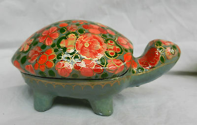 Vintage Kashmir Lacquer Hand Made and Decorated Tortoise / Turtle Box