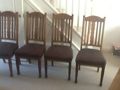 4 arts and crafts oak dining chairs